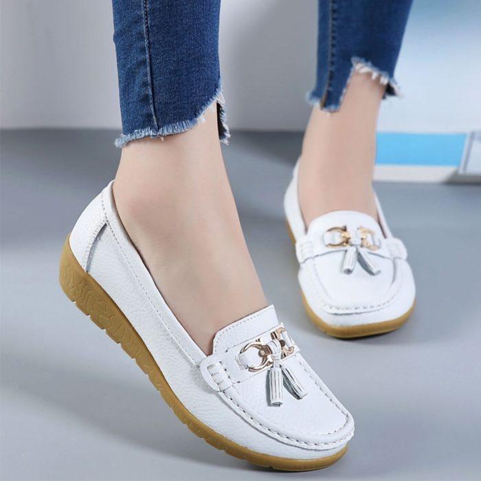 Ladies Loafer Shoes Slip-On Footwear