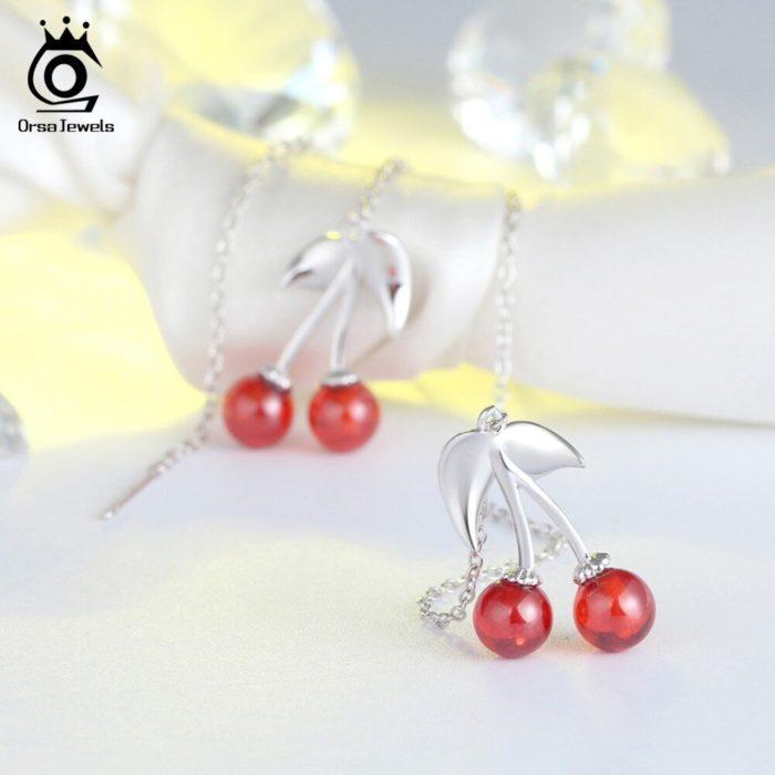 Cherry Earrings Long Drop Earrings