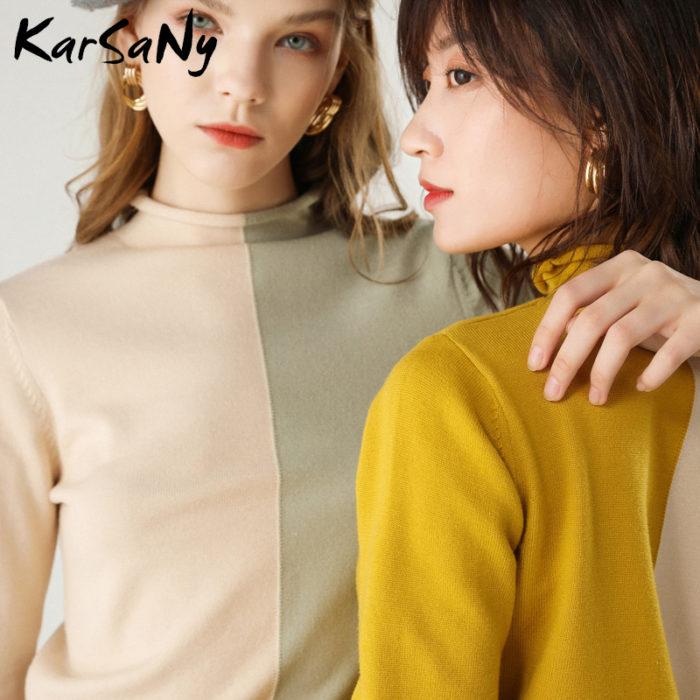 Fancy Ladies Sweater Turtleneck Pullover