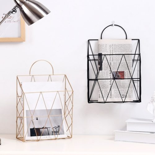 Wall Magazine Rack Metal Basket