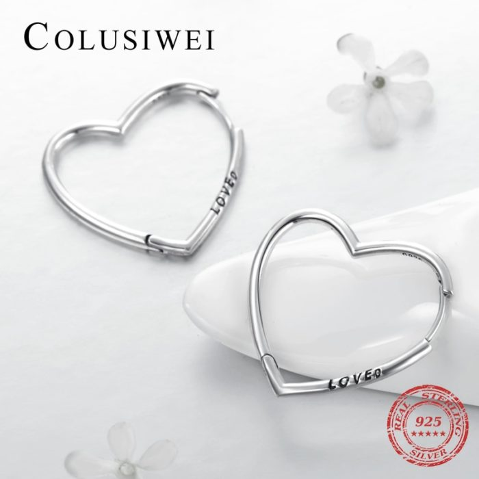 Heart Hoop Earrings Silver Accessory