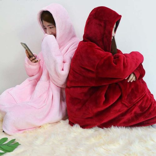 Blanket Hoodie Coral Fleece Warmer