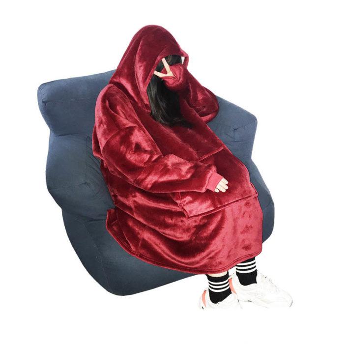 Blanket Hoodie Coral Fleece Warmer