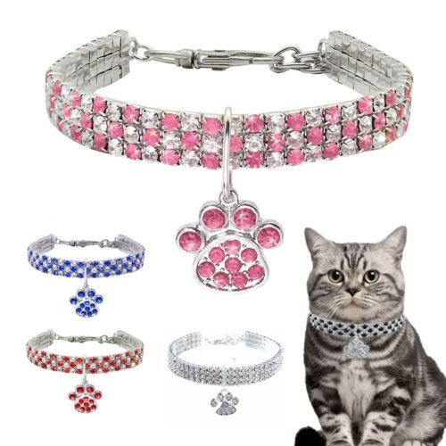 Pet Necklace Shiny Crystal Pet Accessory