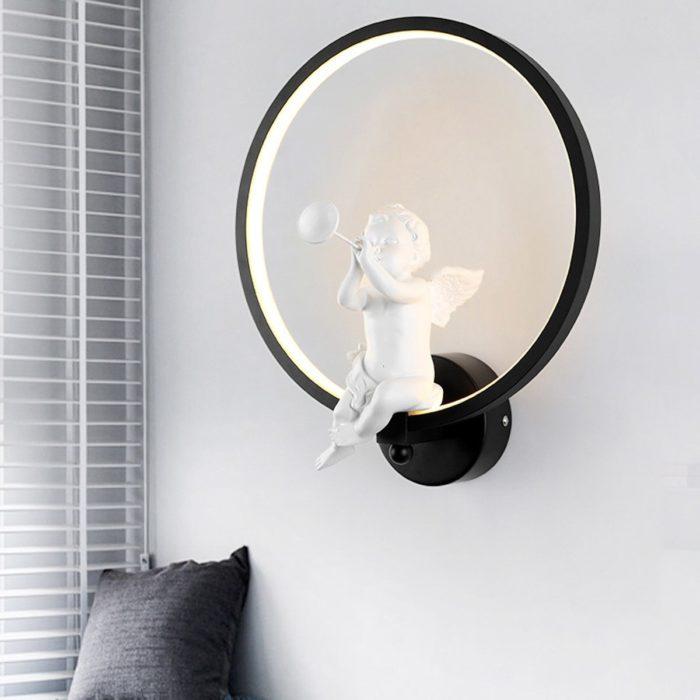 Modern Wall Lamp with Angel Figurine
