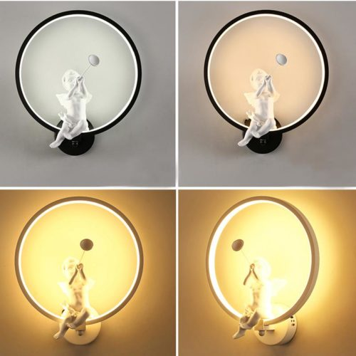 Modern Wall Lamp with Angel Figurine