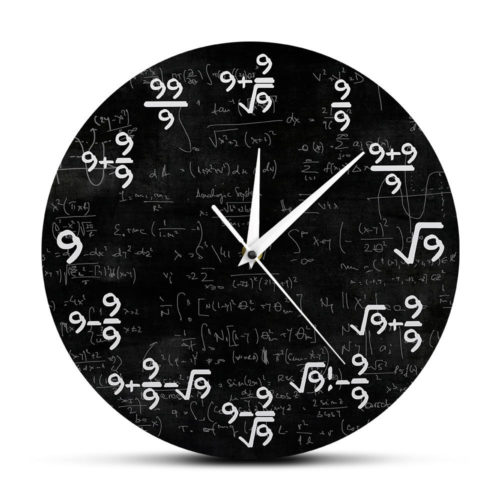 Math Clock Equations Wall Clock