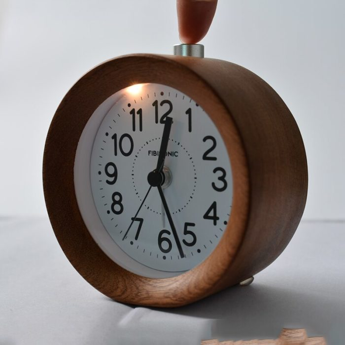 Wooden Alarm Clock Small Round Clock