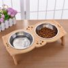 Wooden Dog Bowl Stand Dual-Slot