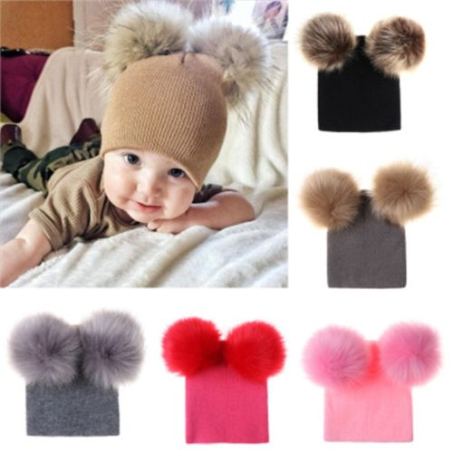 Double Pom Pom Beanie Hat For Kids