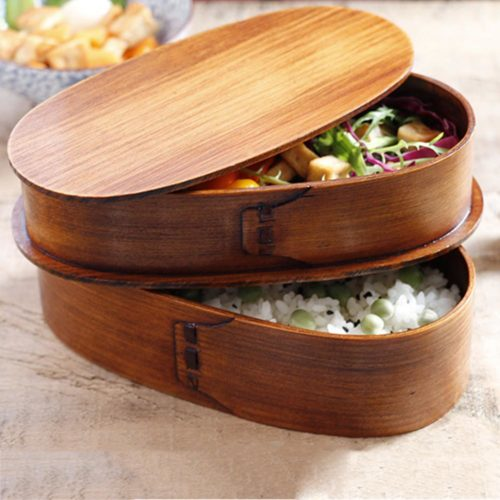 Wooden Bento Box Double-Layer Container