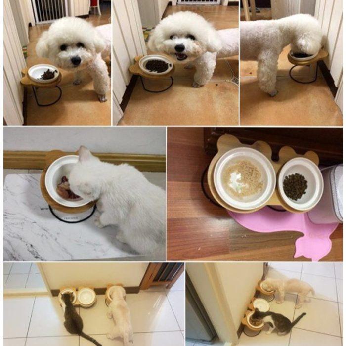 Ceramic Pet Bowl Feeder Stand