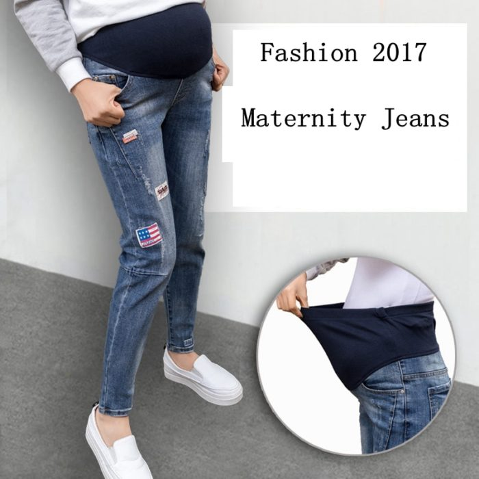 Pregnancy Pants Elastic Waist Maternity Jeans