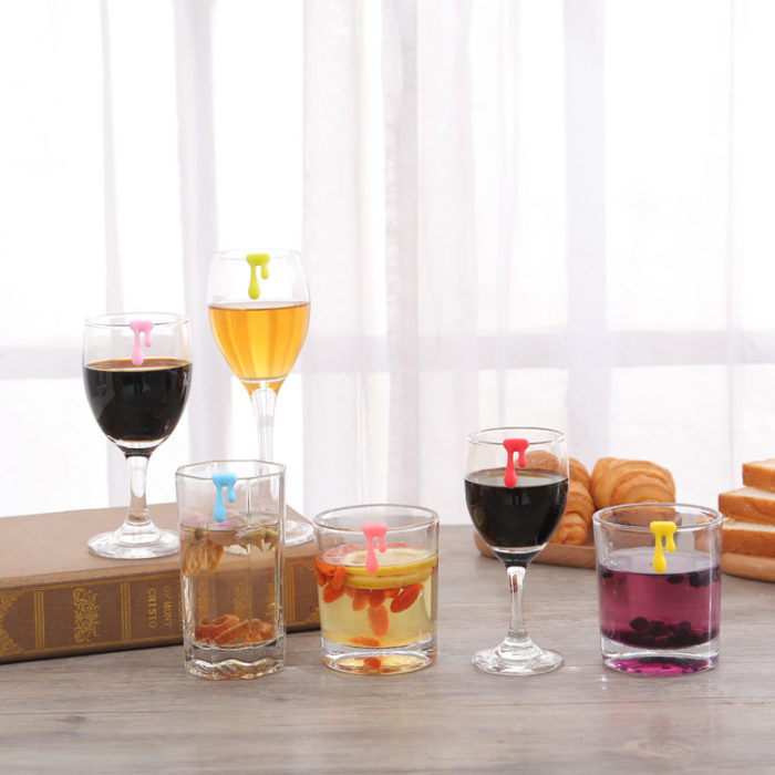 Wine Glass Markers Water Drop Design (6pcs)