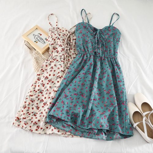 Short Floral Dress Sleeveless Apparel
