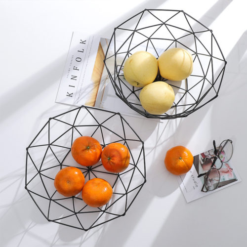 Metal Fruit Basket Geometric Style