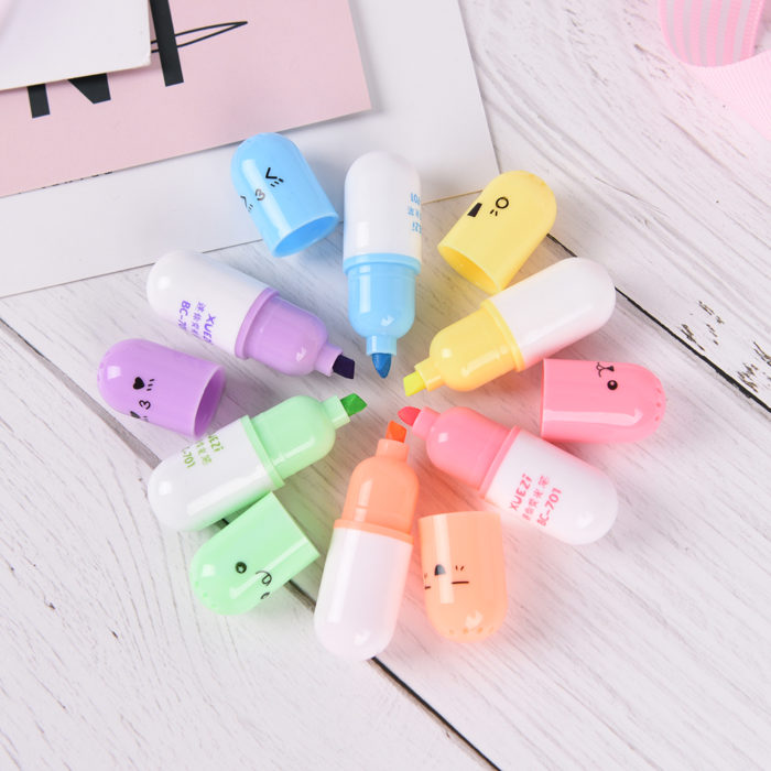 Mini Highlighters Pill Shaped Markers (6pcs)
