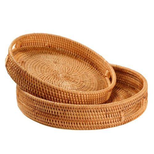 Rattan Tray Round Serving Tray