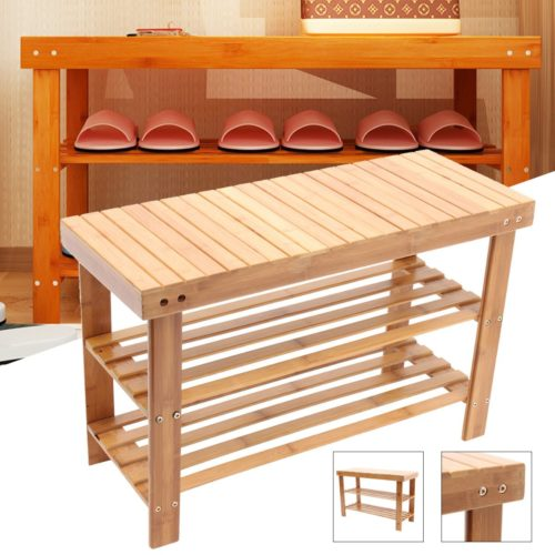 Shoe Rack Bench Wooden Organizer