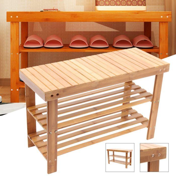 Shoe Rack Bench Wooden Organizer