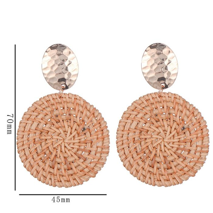 Rattan Earrings Fashion Accessories