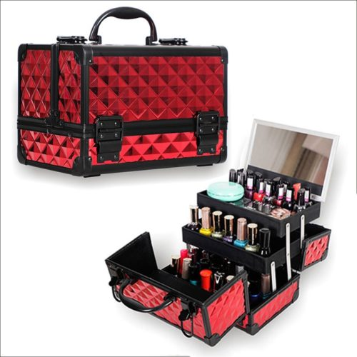 Makeup Organizer Case With Mirror