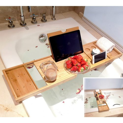Bath Wine Holder Wooden Tray