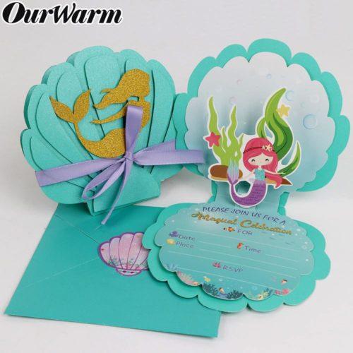 Mermaid Birthday Party Invitations (6Pcs)