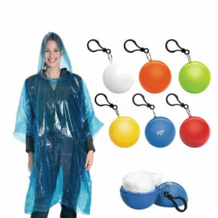 Pocket Raincoat with Ball Keychain Container