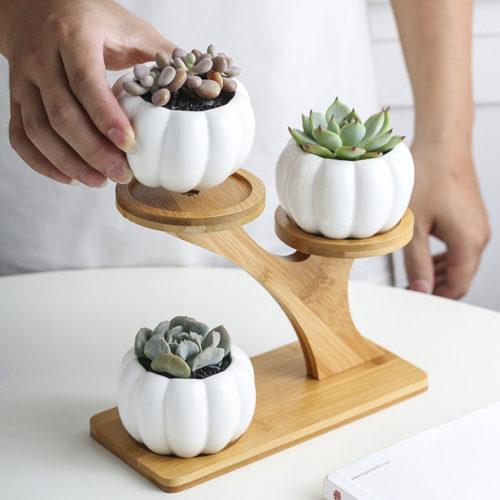 Indoor Ceramic Plant Pot 3-Tier with Stand