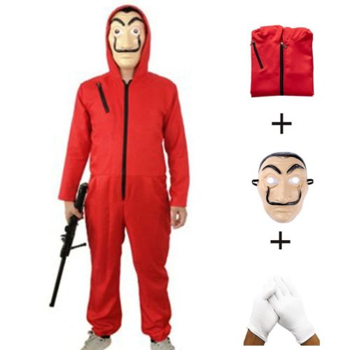 Money Heist Costume Jumpsuit Mask and Glove