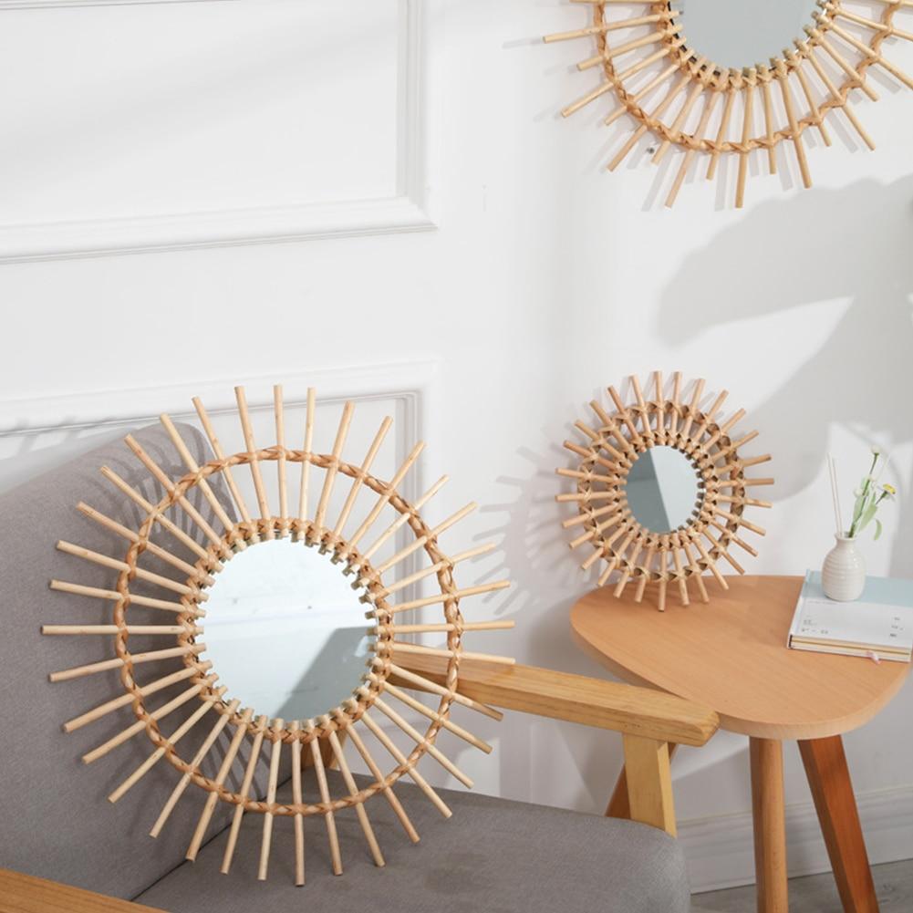 Wood Circle Mirror Hanging Decor