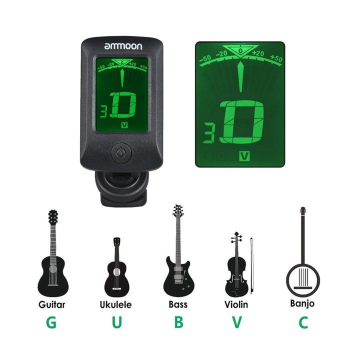 Digital Guitar Tuner Clip-On Device