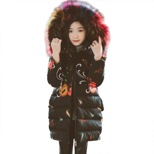 Girls Coat With Fur Hood Winter Jacket