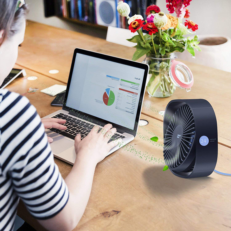 Portable Personal Fan Double Air Outlet Mini Desk Fan with Ice Box USB Charging or AA Battery Perfect for Study Room Office Laptop Table Home Pink