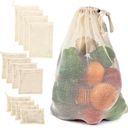 Reusable Vegetable Bags Mesh Drawstring