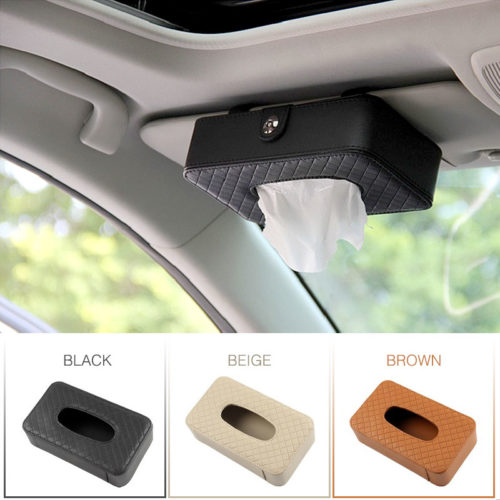 Car Tissue Box Leather Auto Organizer