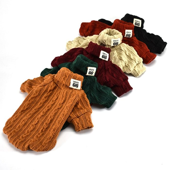 Knitted Dog Sweater Turtleneck Sweater