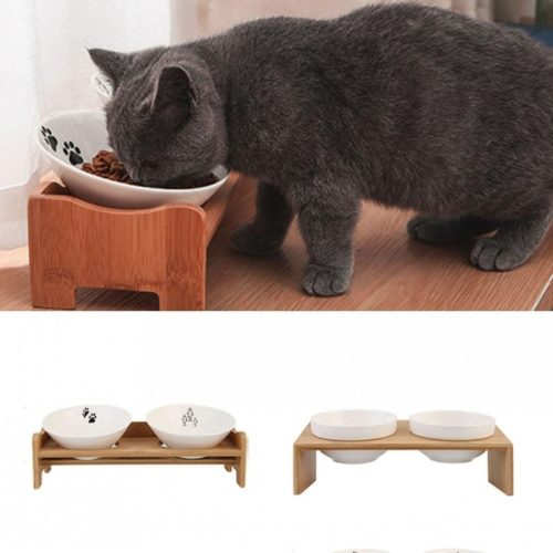 Raised Cat Bowls Double Bowl Feeder Stand