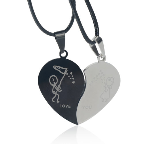 Couple Heart Necklaces Jewelry For Lovers