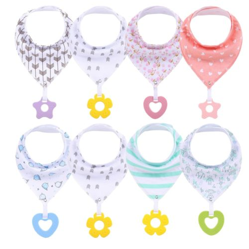 Drool Bib Bandana with Silicone Teether