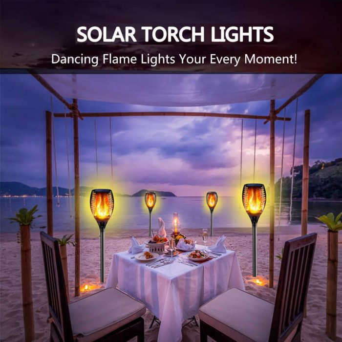 Solar Flame Torch Garden LED Lamp