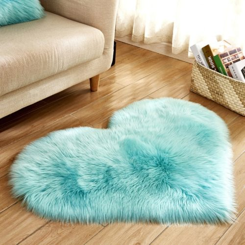 Heart Rug Decorative Faux Fur Mat