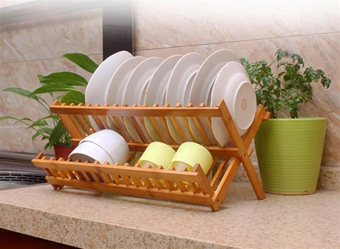 Foldable Wooden Dish Drying Rack
