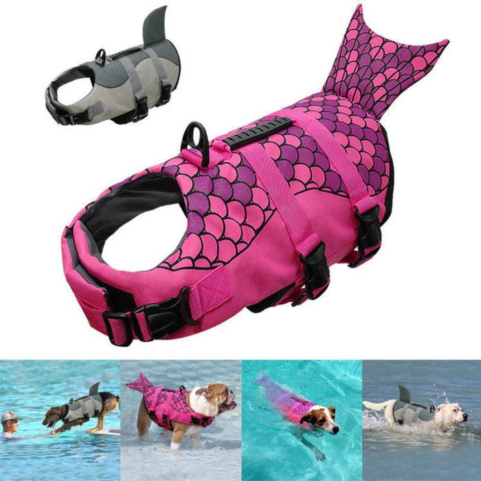Dog Life Vest Shark/Mermaid Design