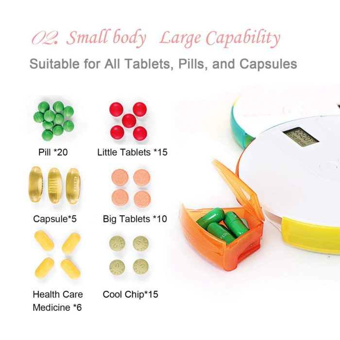 Pill Alarm Box Weekly Container