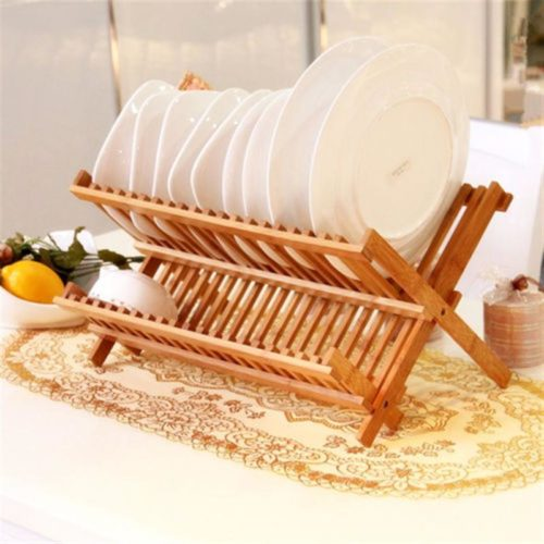 Wooden Dish Rack Foldable Plate Drainer