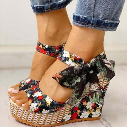 Ladies Wedge Sandals Bowknot Design