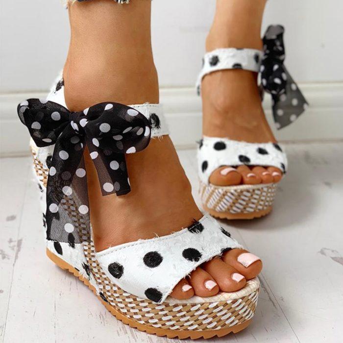 Ladies Wedge Sandals Bowknot Design