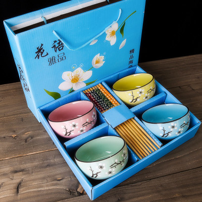 Ceramic Bowls with Chopsticks Set